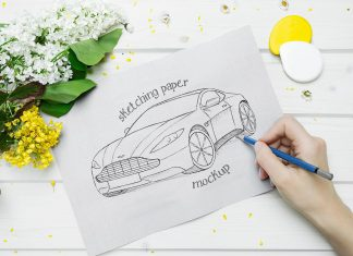 Free Thick Sketch / Drawing Paper Mockup PSD