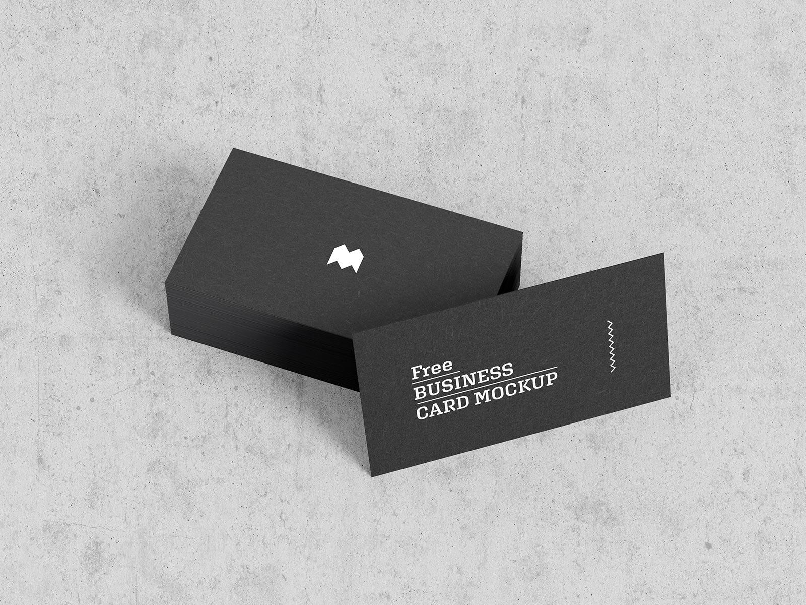 Free Standard Size Black Business Card Mockup PSD Set (1)