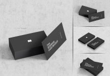 Free Standard Size Black Business Card Mockup PSD Set (1)