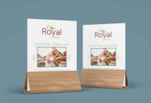 Free Wood Table Menu Sign Display Tent Mockup PSD Set