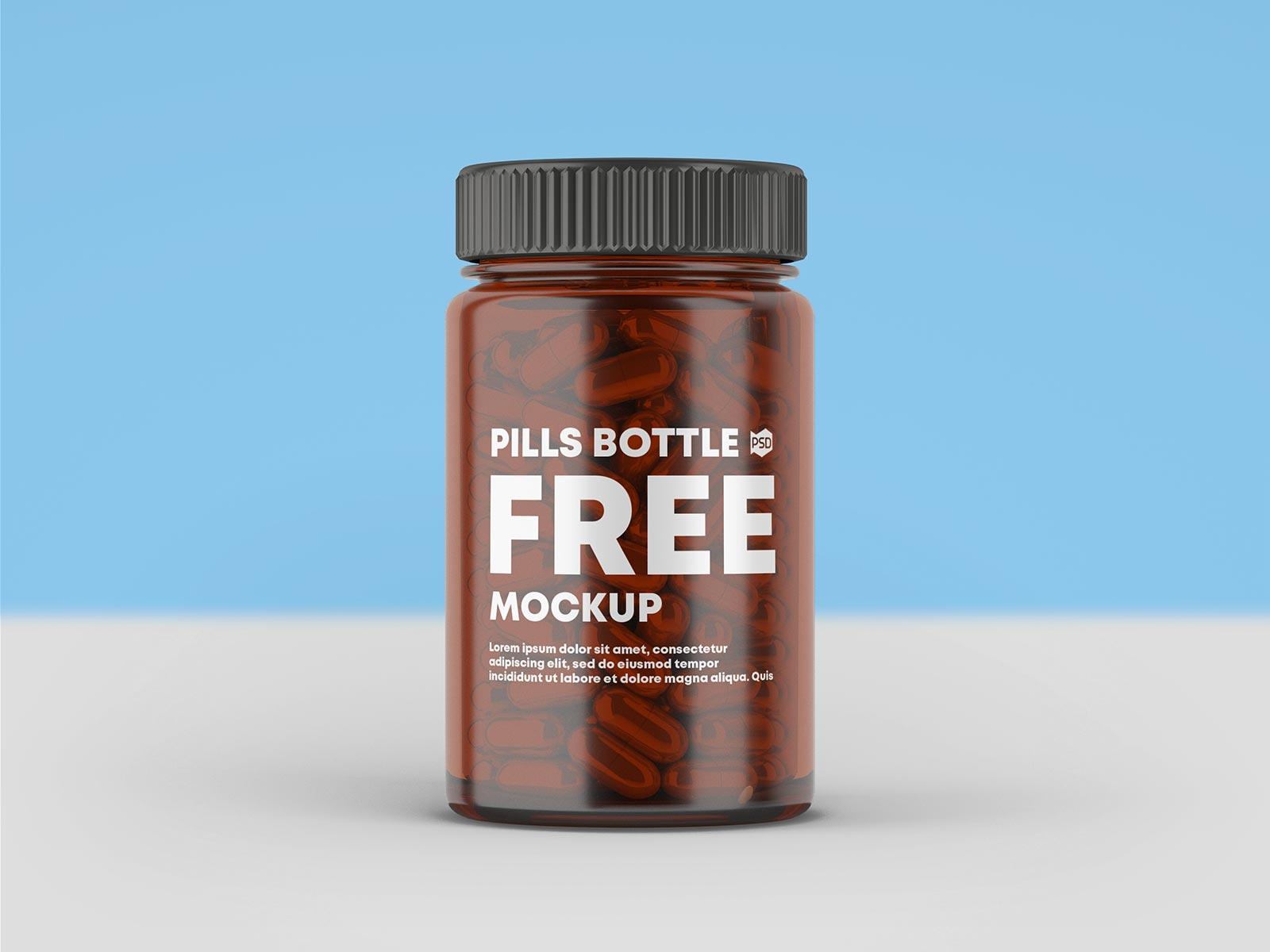 Free Amber Glass Capsule Pill Bottle Mockup PSD Set (1)