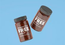 Free Amber Glass Capsule Pill Bottle Mockup PSD Set (1)