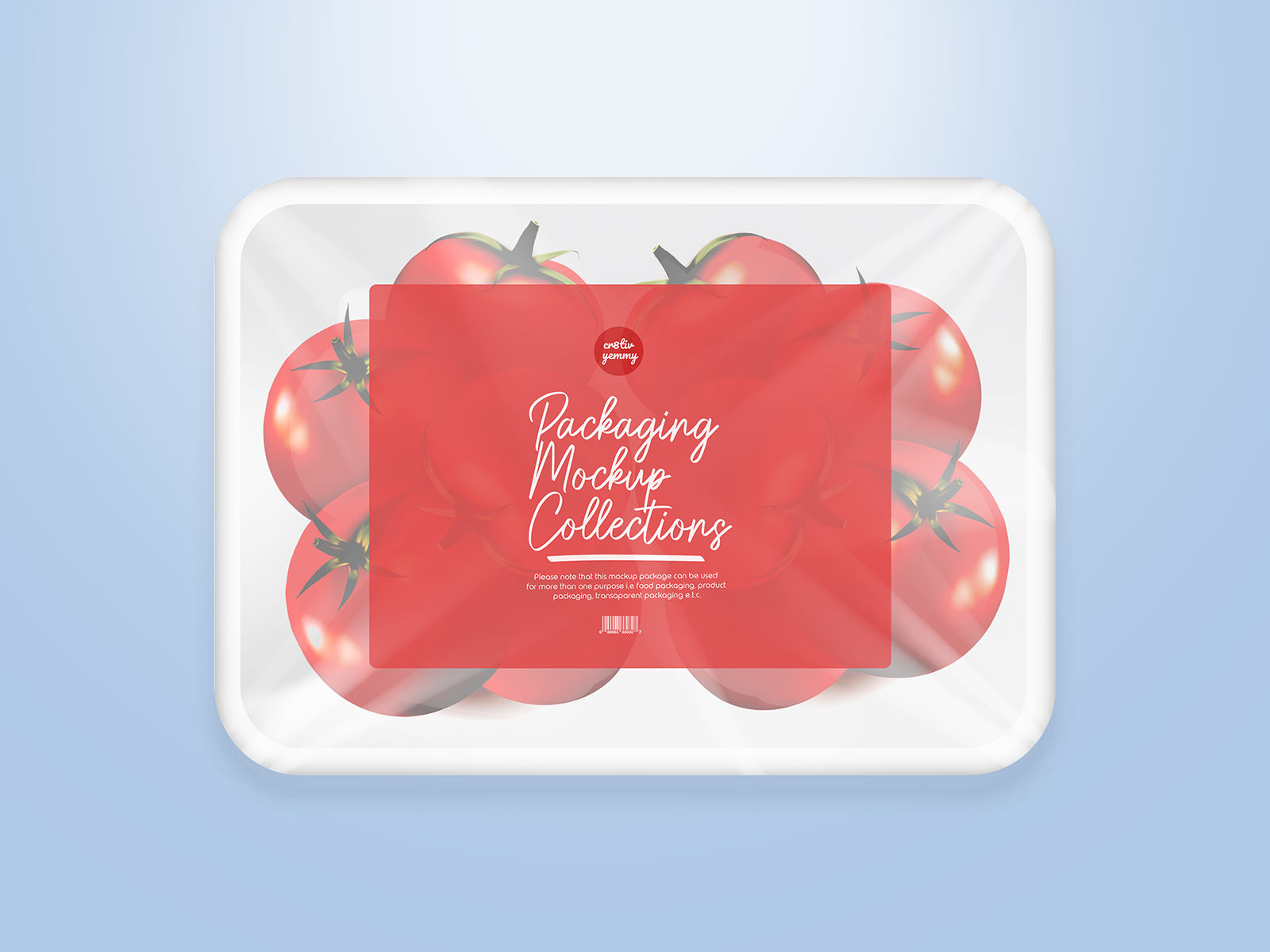 Free Disposable Plastic Fruit Tray Label Mockup PSD