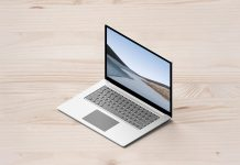 Free Isometric Microsoft Surface Laptop Mockup PSD