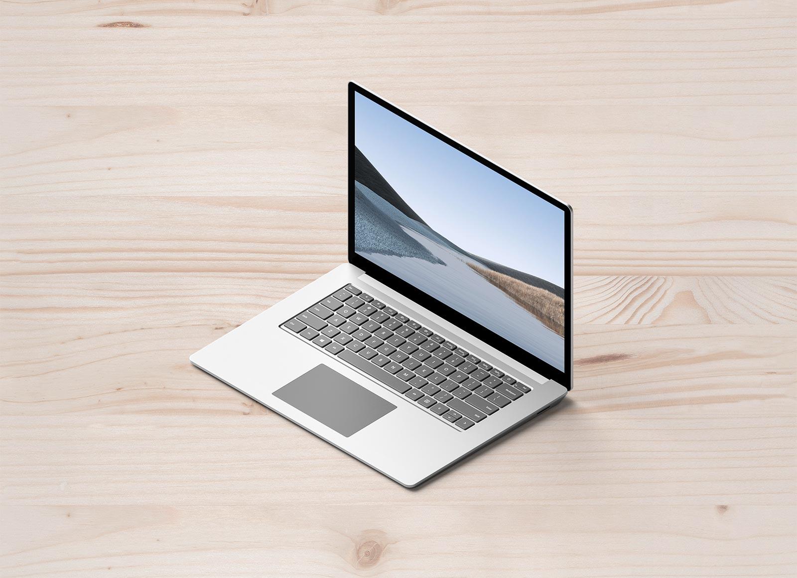 Free Isometric Microsoft Surface Laptop Mockup PSD