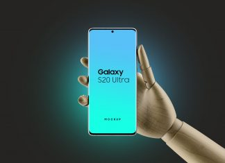 Free Wooden Hand Holding Samsung Galaxy S20 Ultra Mockup PSD