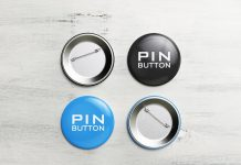 Free Pin-Back Button Badge Mockup PSD Set