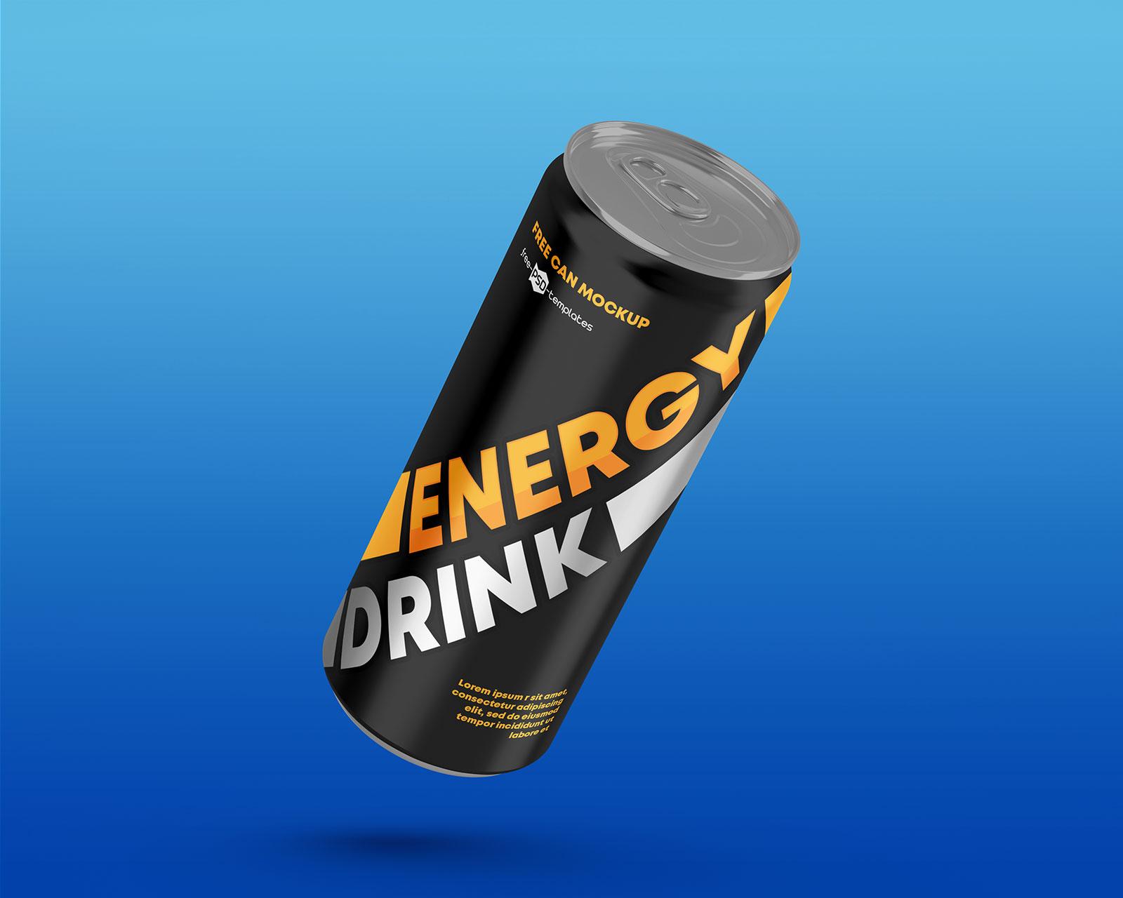 Free Energy Drink Tin Can Mockup PSD Set