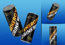 Free Energy Drink Tin Can Mockup PSD Set