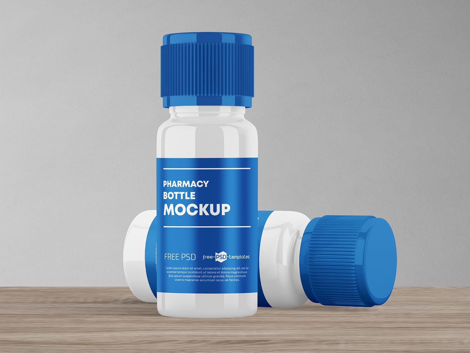 Free Plastic Pill Tablet Bottle Mockup PSD Set