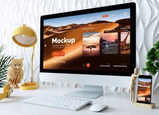 Free 4k iMac Desktop Monitor Mockup PSD (1)