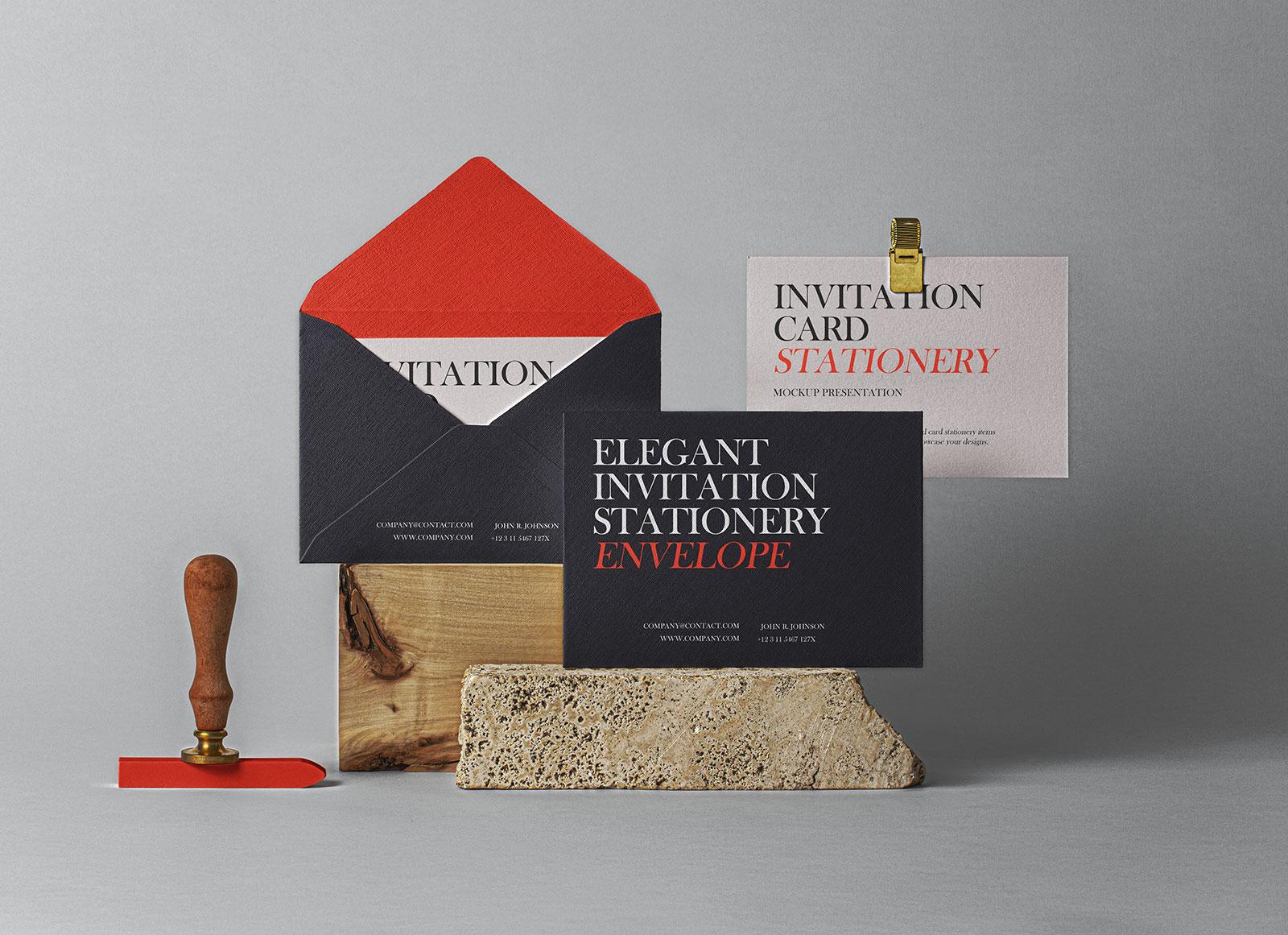Free-Invitation-Card-&-Envelope-Mockup-PSD