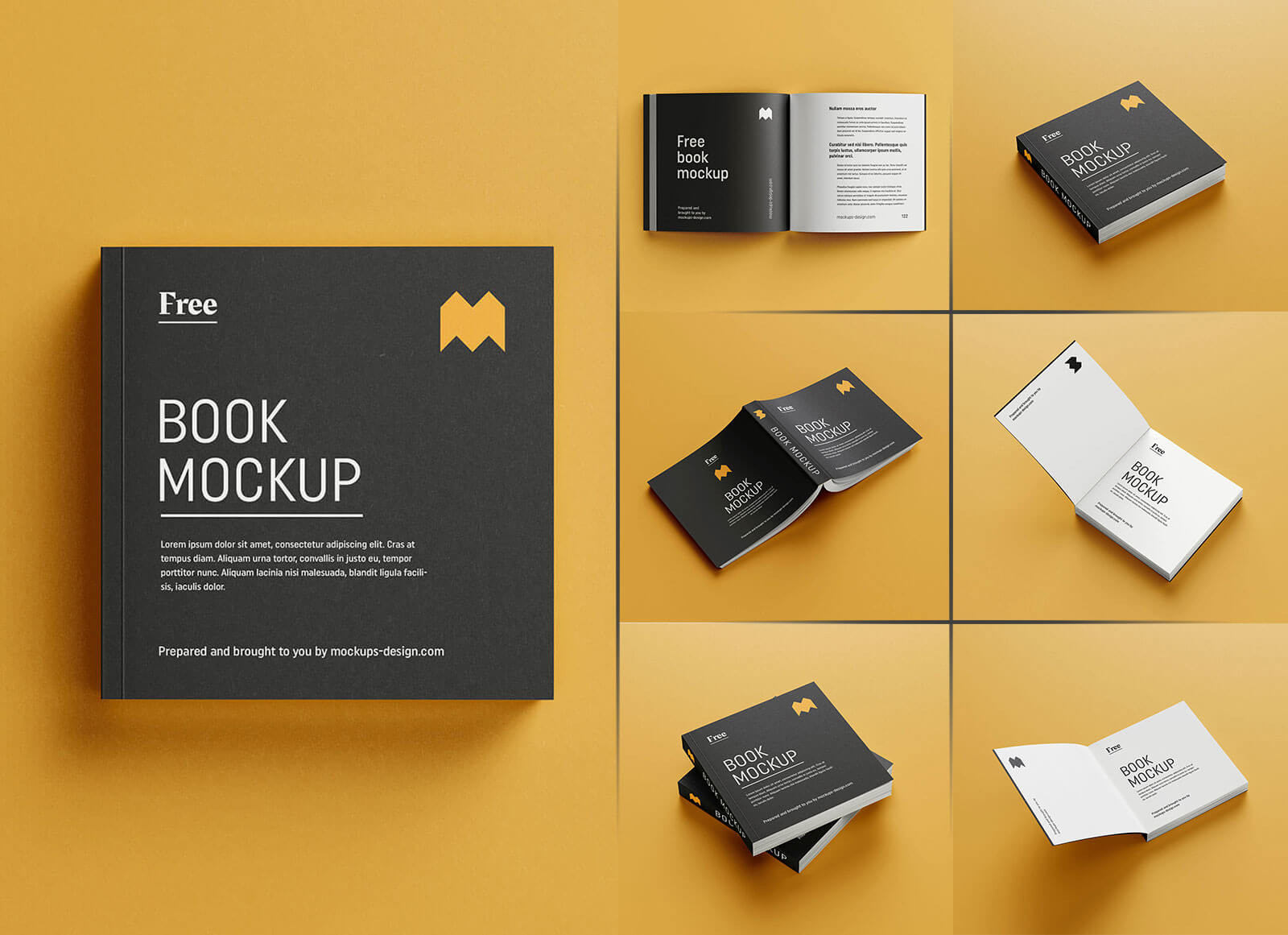 Free Square Paperback Book Mockup PSD Set 9