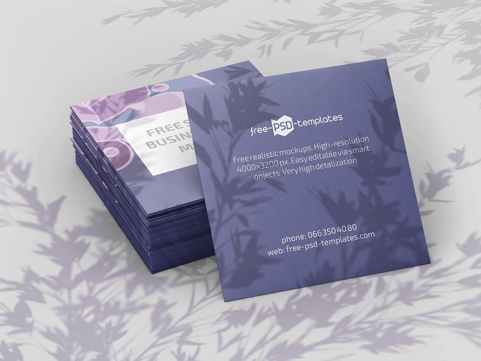 Free Square Shadow Business Card Mockup PSD Set Customizable Background (1)