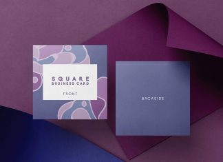 Free Square Shadow Business Card Mockup PSD Set Customizable Background (2)