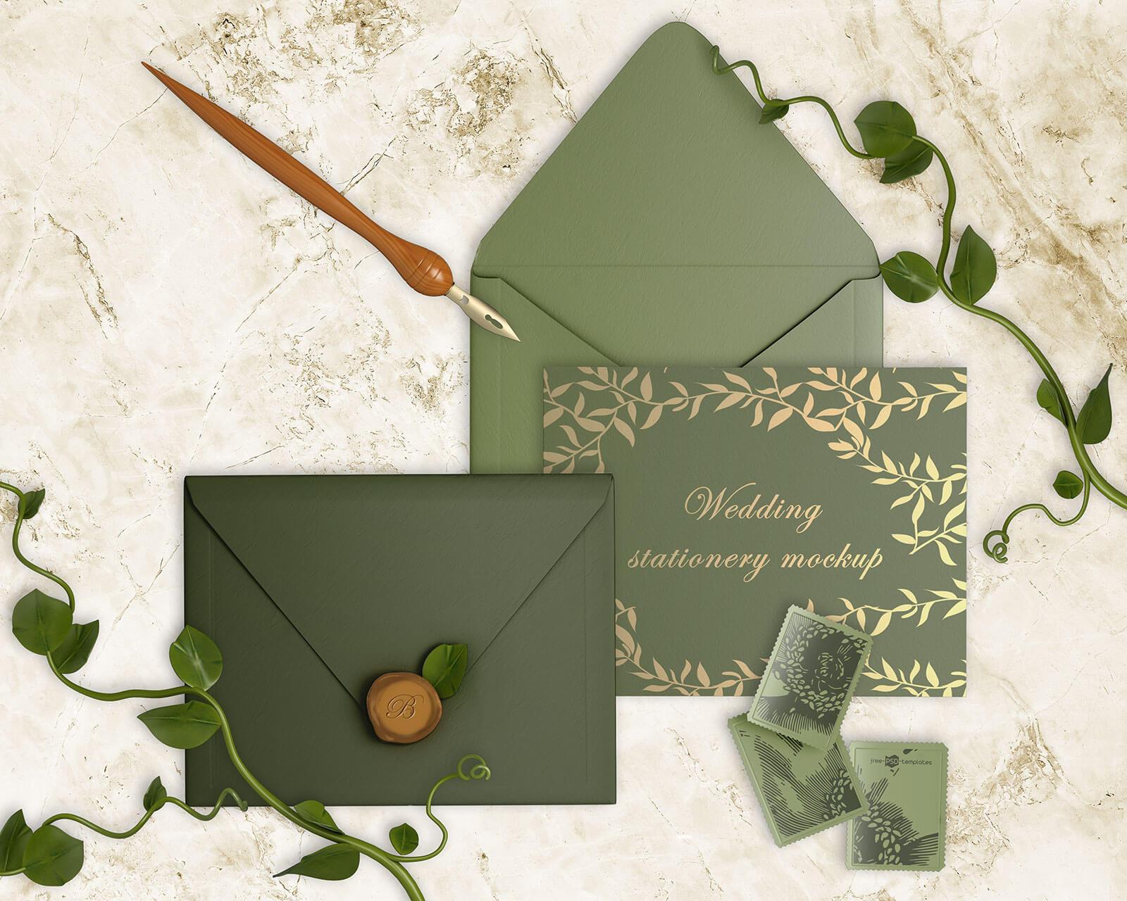 Free-invitation-Wedding-Card-&-Envelop-Mockup-PSD-Set-2