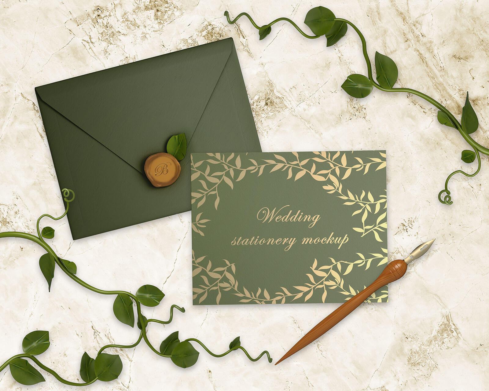 Free Wedding Invitation Card & Envelope Mockup PSD Set - Good Mockups