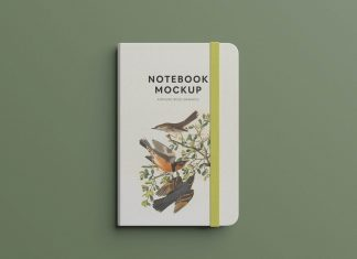 Free Bullet Journal Notebook Title Mockup PSD