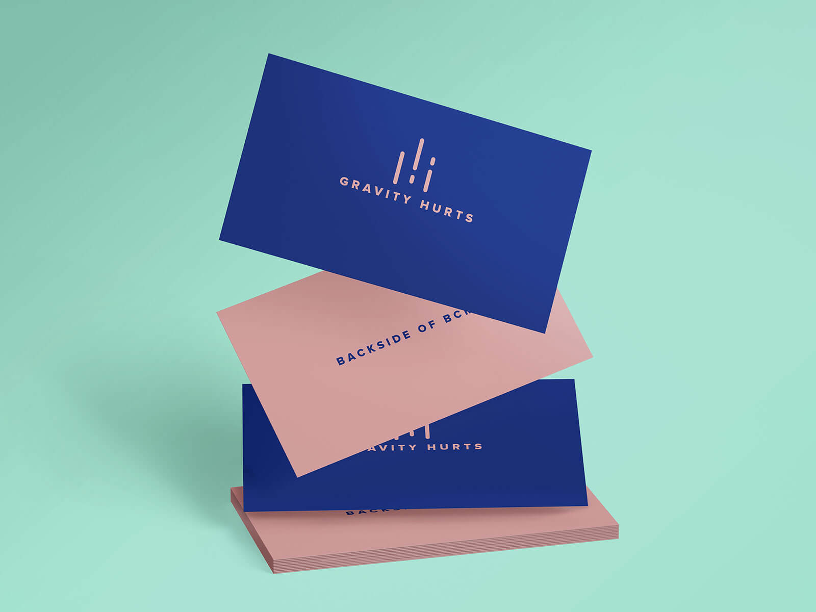 Free Falling Gravity Business Card Mockup PSD Set (1)