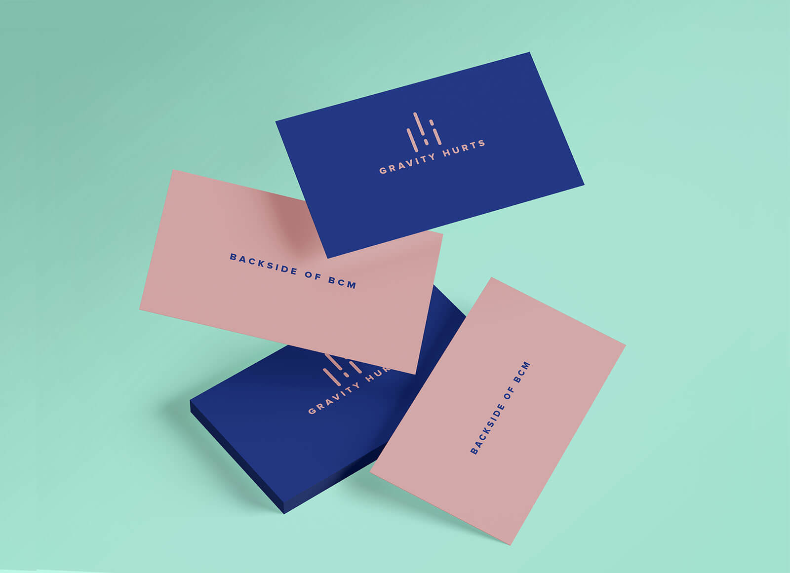 Free Falling Gravity Business Card Mockup PSD Set (2)