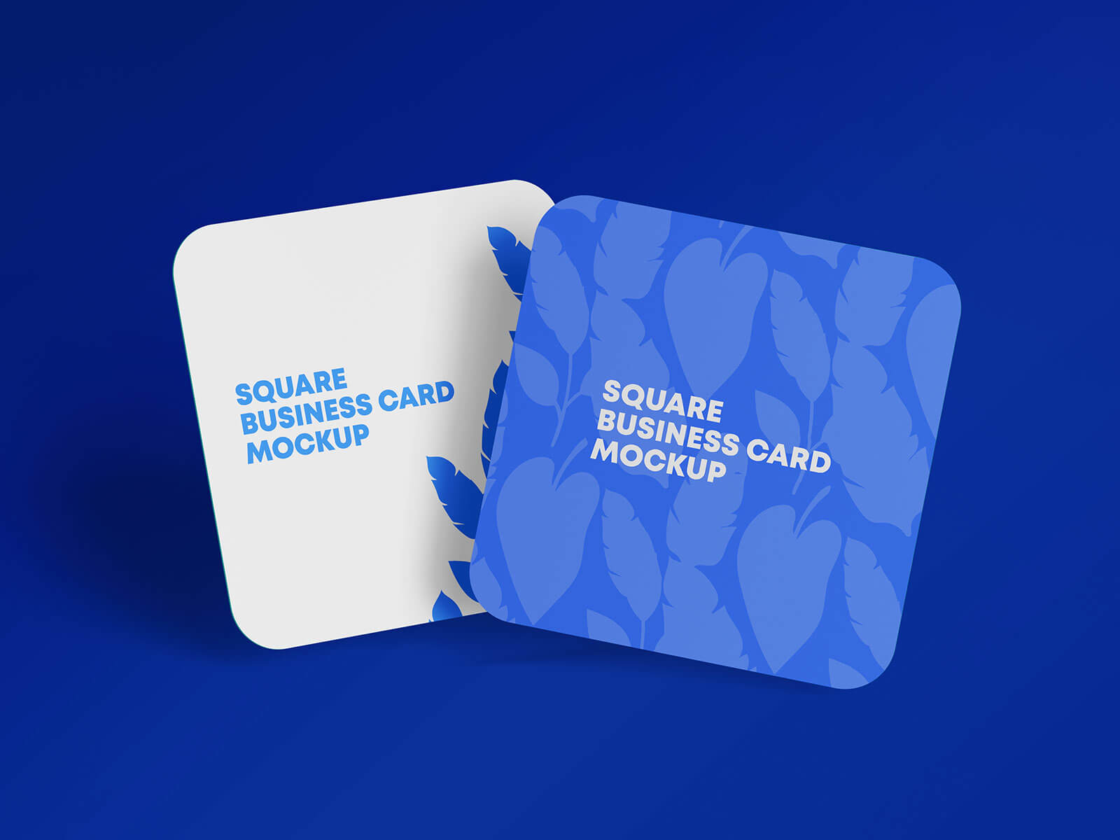 Free Rounded Corners Square Business Card Mockup PSD Set (1)