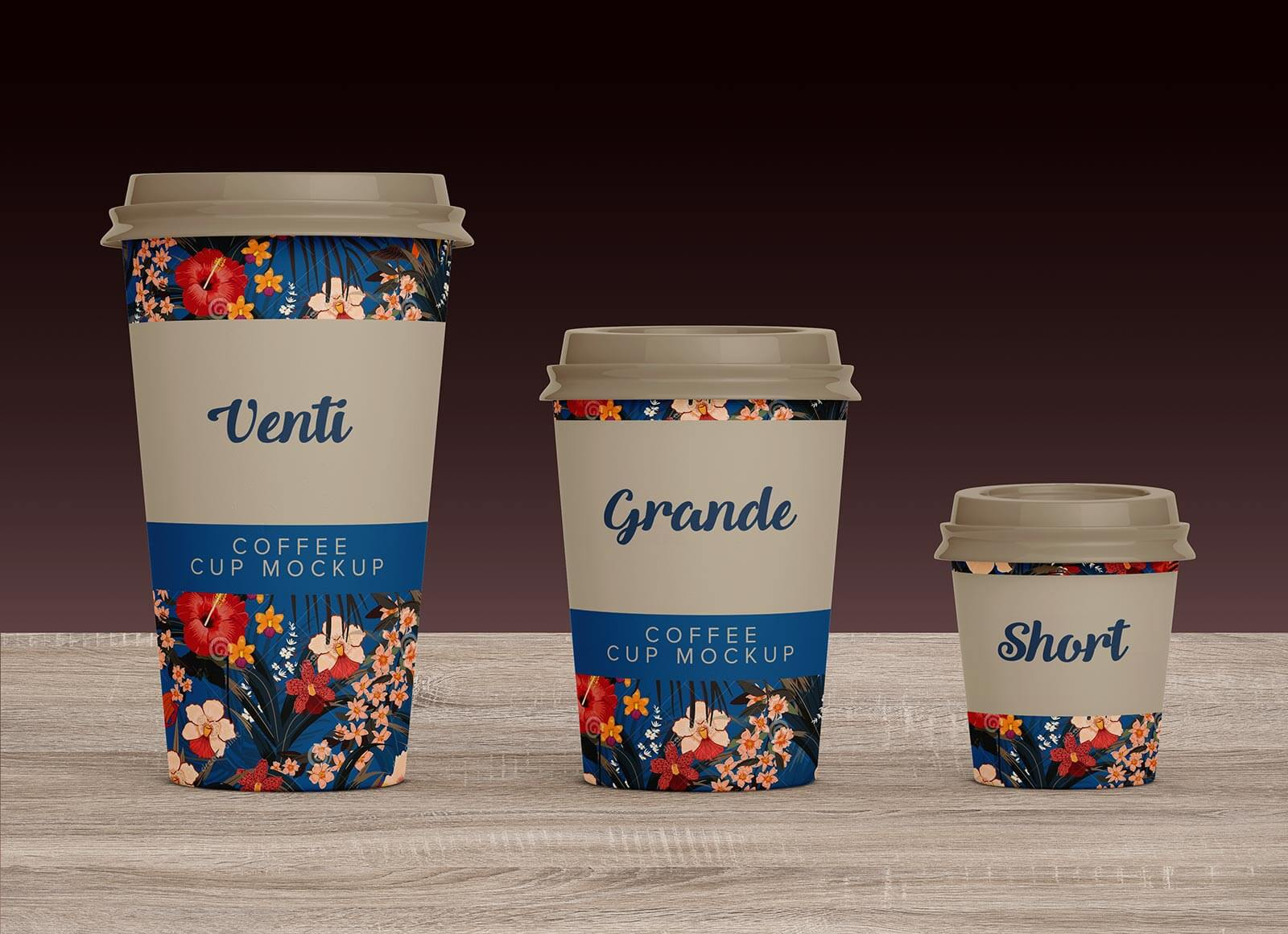 Free Venti, Grande & Short Paper Coffee Cup Mockup PSD Set (1)