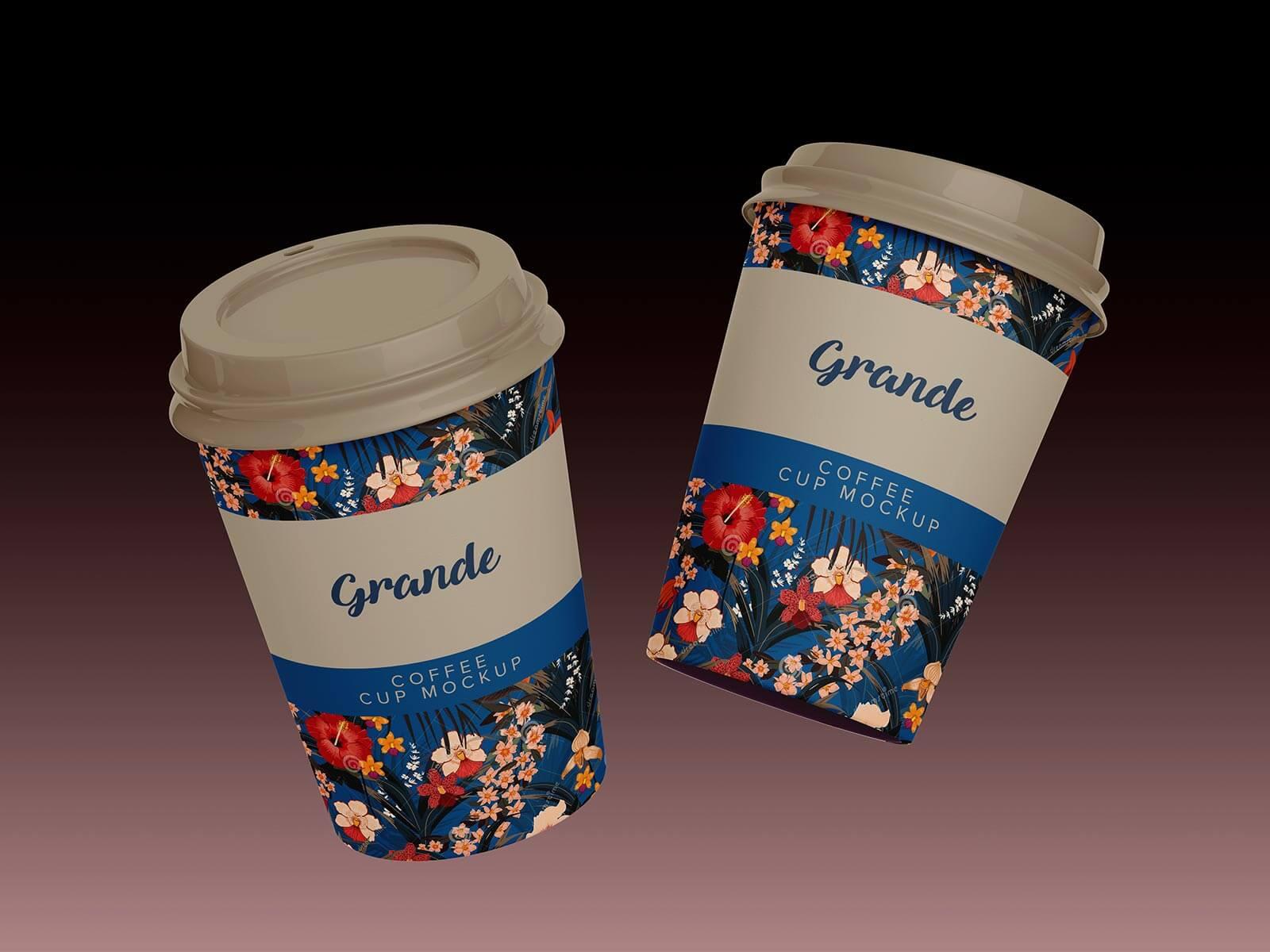 Free Venti, Grande & Short Paper Coffee Cup Mockup PSD Set (3)