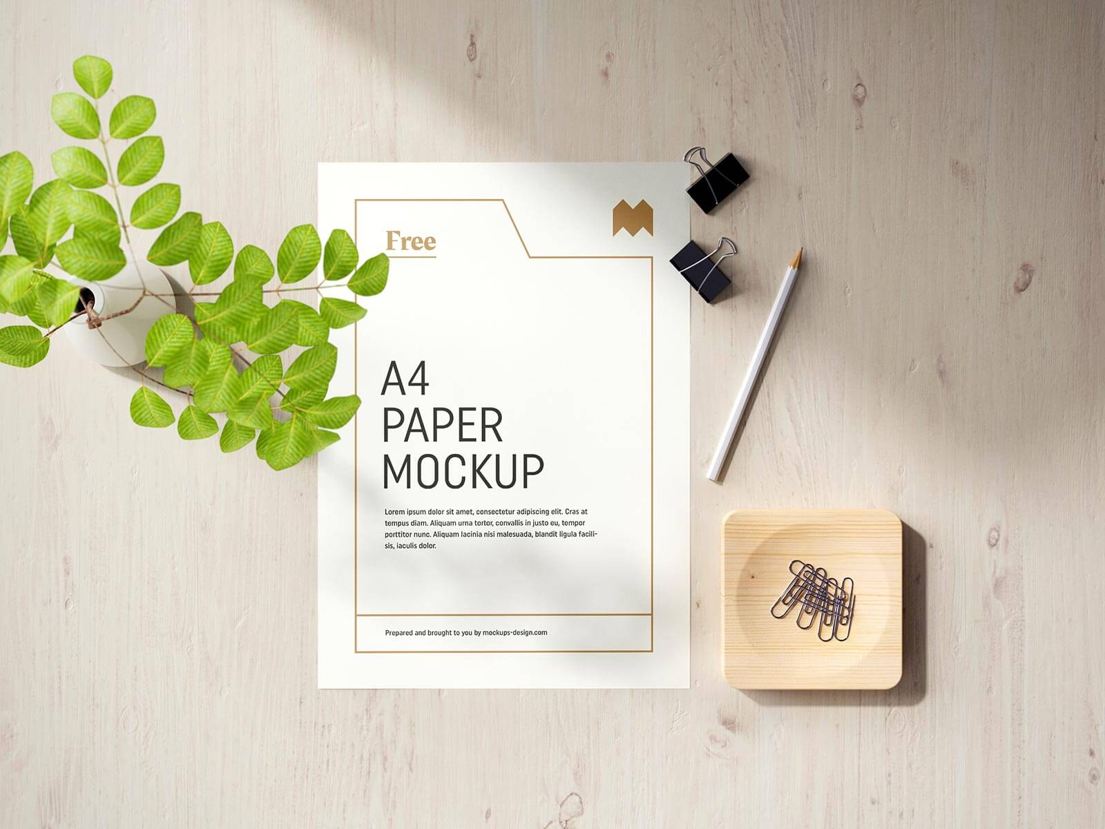 Free Vertical & Horizontal A4 Paper Flyer Letterhead Mockup PSD Set (2)