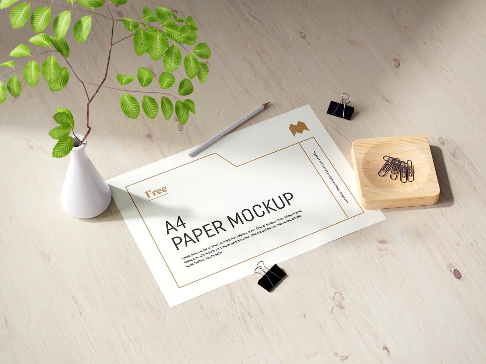 Free Vertical & Horizontal A4 Paper Flyer Letterhead Mockup PSD Set (3)