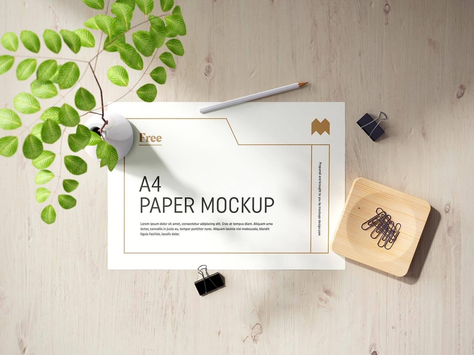 Free Vertical & Horizontal A4 Paper Flyer Letterhead Mockup PSD Set (4)