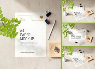 Free Vertical & Horizontal A4 Paper Flyer Letterhead Mockup PSD Set (5)