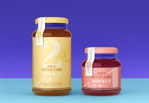 Free Wide Mouth Quart & Pint Jam Jar Mockup PSD Set