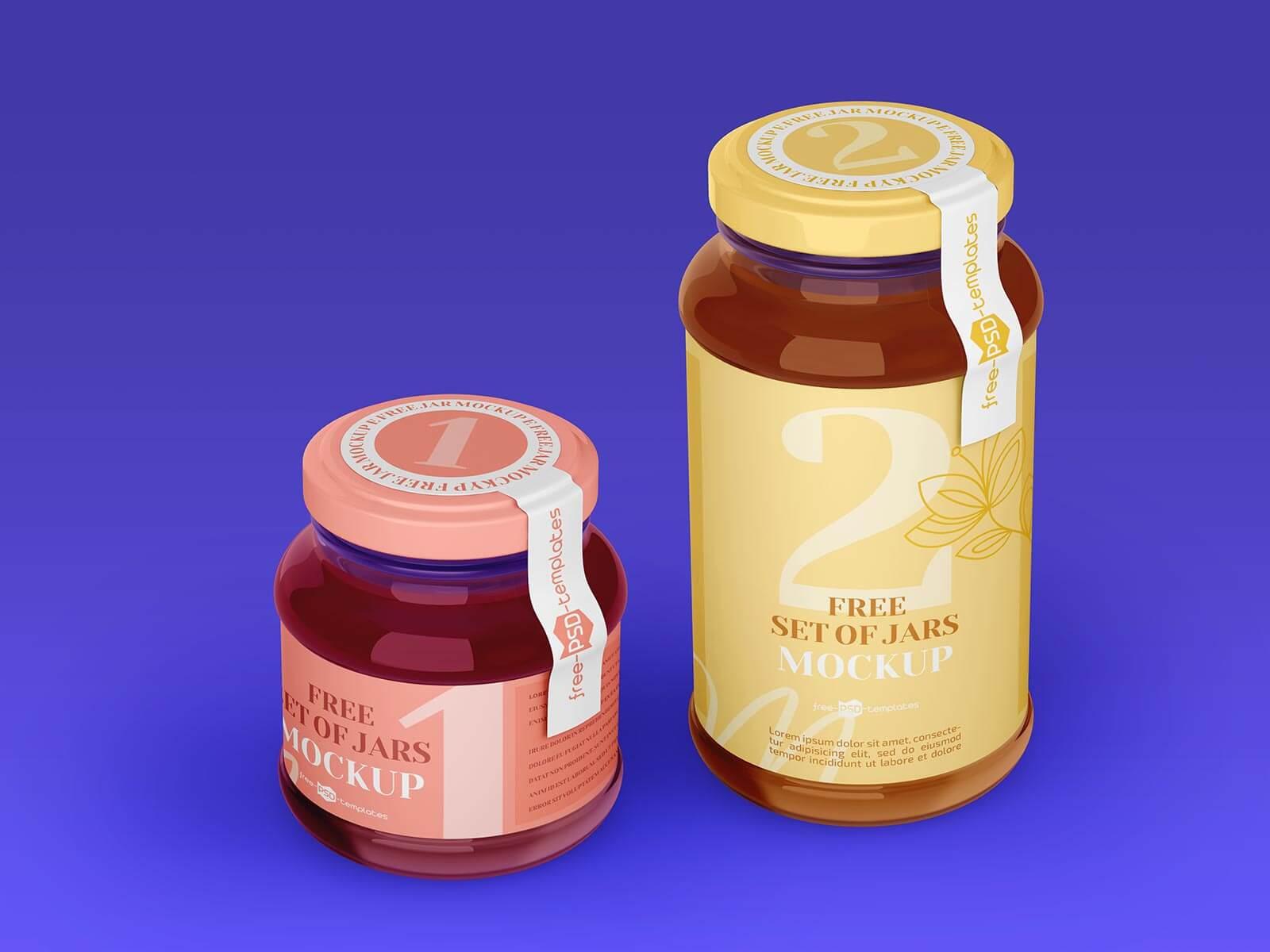 Free Wide Mouth Quart & Pint Jam Jar Mockup PSD Set