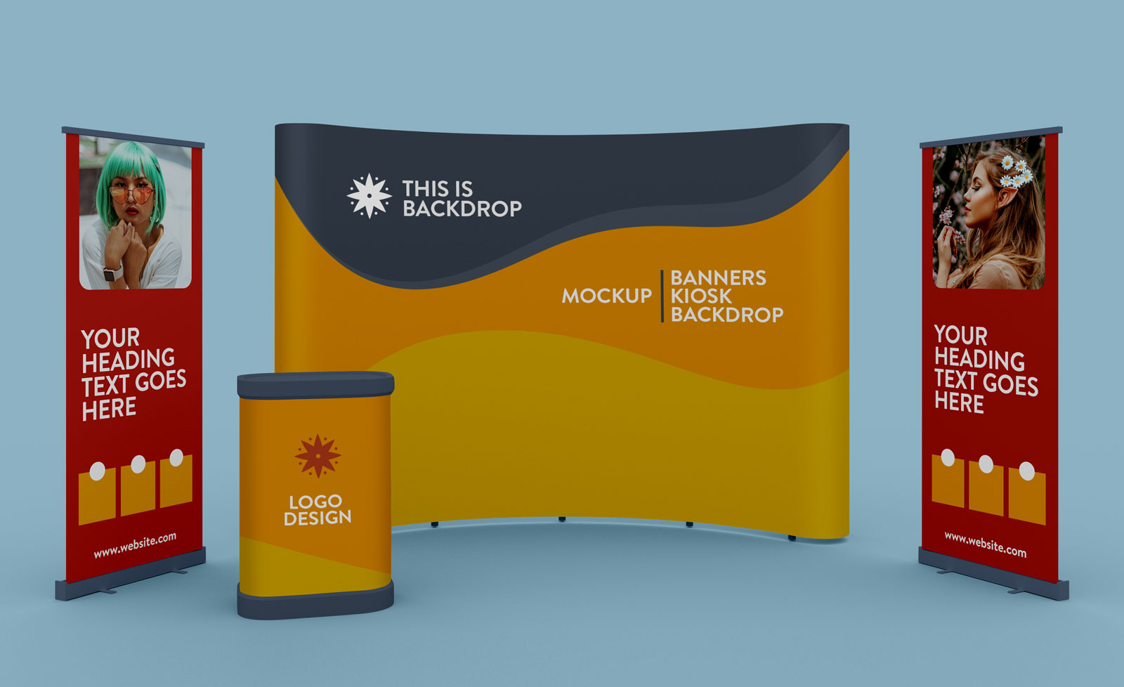 Free Exhibition Trade Show Standing Banner, Booth & Backdrop Mockup PSD