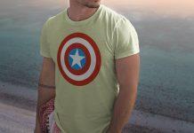 Free Handsome Hunk Half Sleeves T-Shirt Mockup PSD