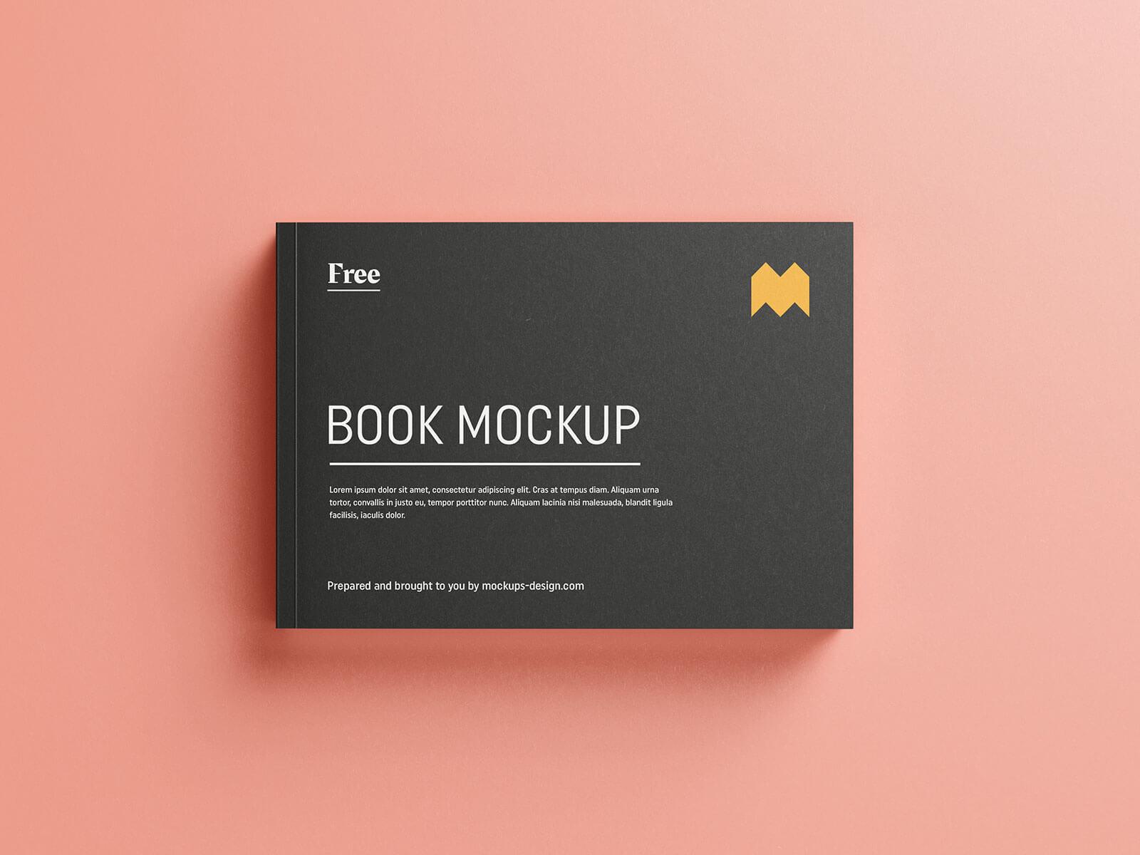 Free Paperback Landscape Book Mockup PSD Set