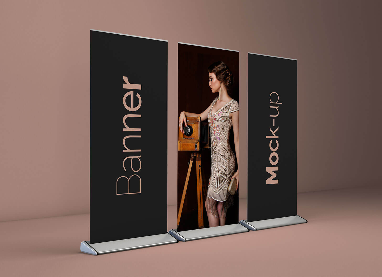 Free Roll-up Stand Banner Mockup PSD Set