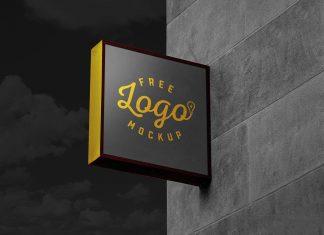 Free Square Wall Mounted Dark Sign Board Logo Mockup PSD