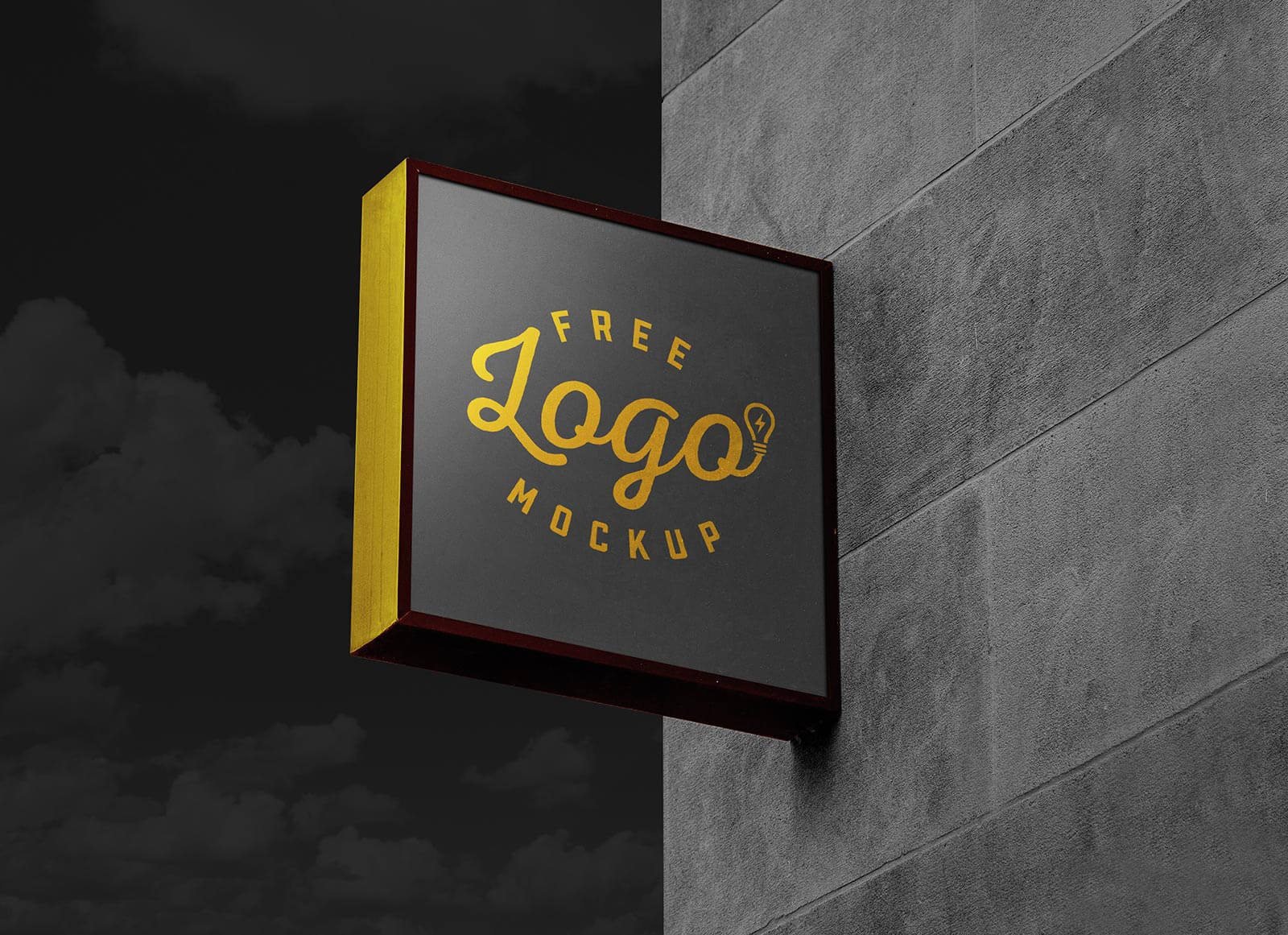 Free Square Wall Mounted Dark Sign Board Logo Mockup PSD