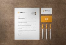 Free US Size Letterhead, Business Card & Ballpoint Pen Stationery Mockup PSD Set (1)