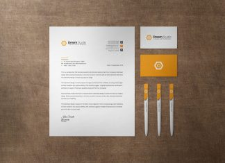 Free US Size Letterhead, Business Card & Ballpoint Pen Stationery Mockup PSD Set (1)