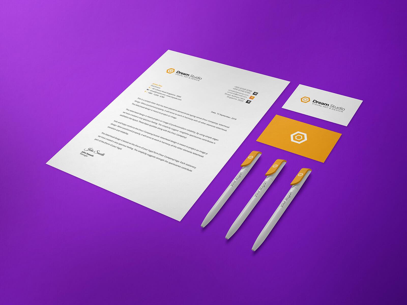 Free US Size Letterhead, Business Card & Ballpoint Pen Stationery Mockup PSD Set (2)
