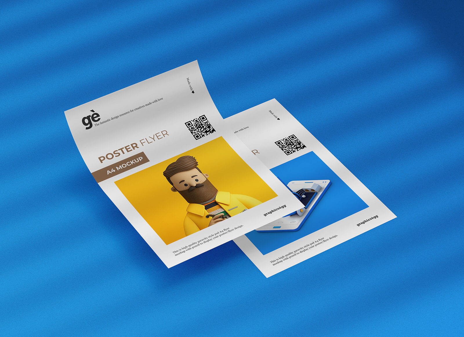 Free Dual A4 Size Shadow Flyer / Poster Mockup PSD