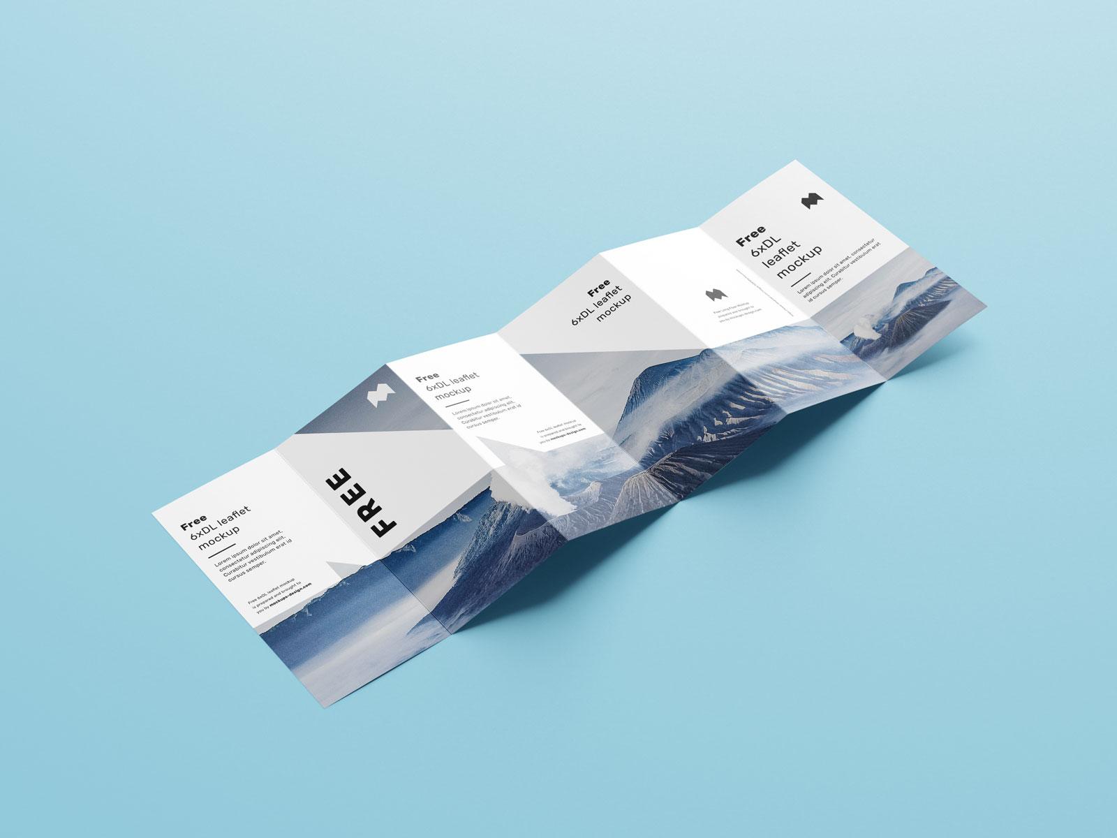 Free 6-Fold Brochure Leaflet DL Mockup PSD Set (1)
