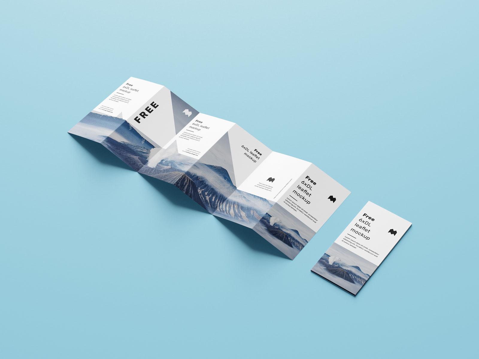 Free 6-Fold Brochure Leaflet DL Mockup PSD Set (2)