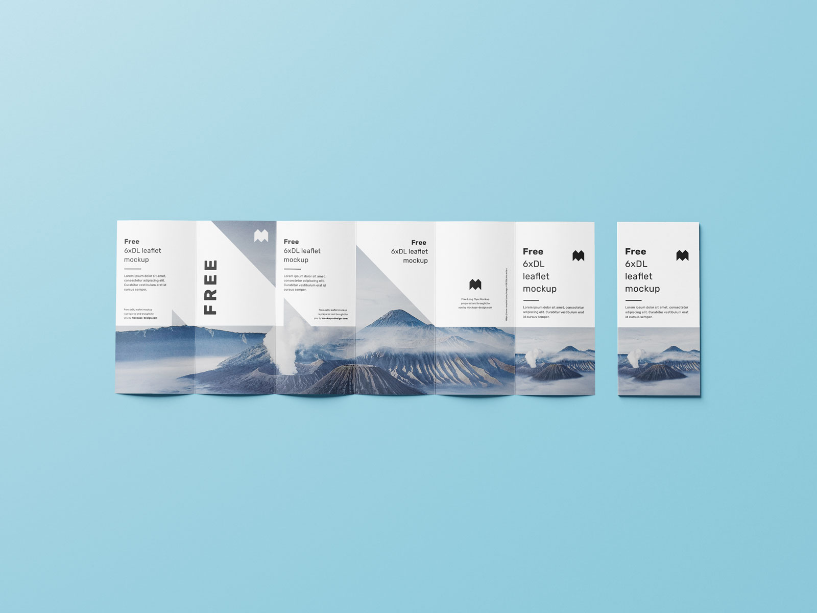 Free 6-Fold Brochure Leaflet DL Mockup PSD Set (3)