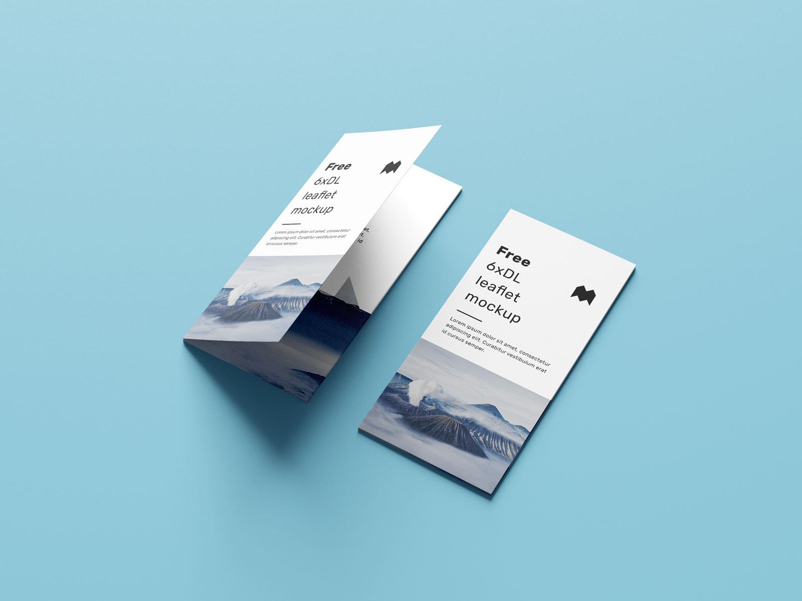 Free 6-Fold Brochure Leaflet DL Mockup PSD Set (4)