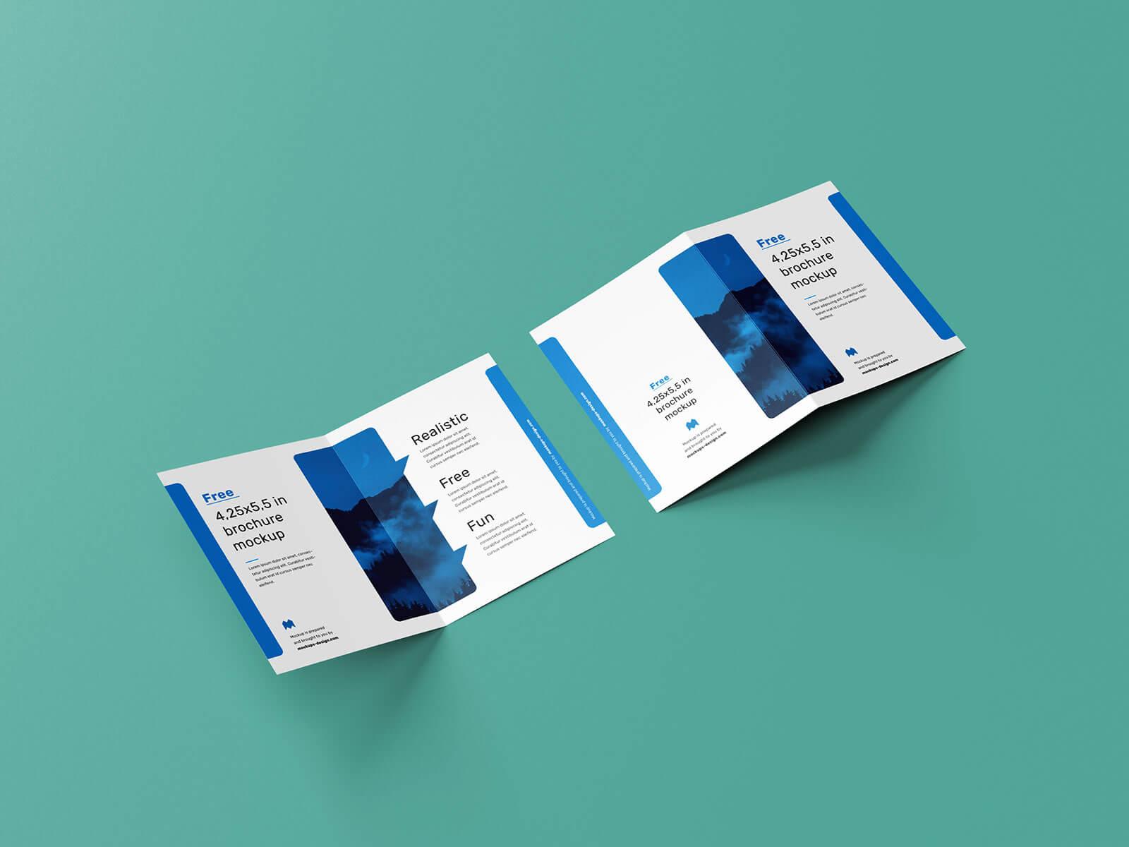 Free Bi-Fold Quarter Page Brochure Mockup PSD Set