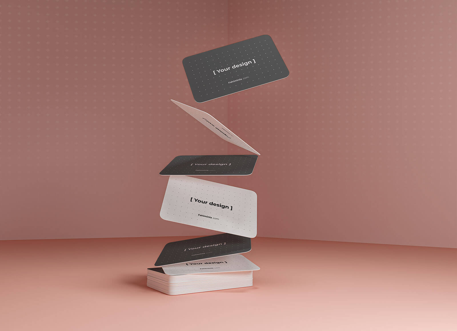 Free Black & White Gravity Business Card Mockup PSD