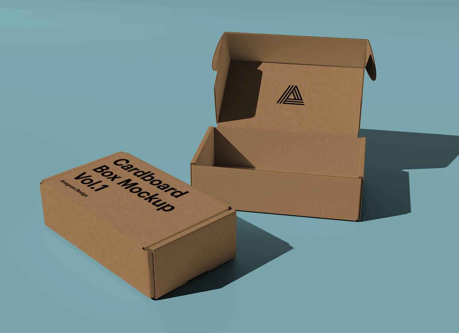 Free Kraft Corrugated Mailer Box Mockup PSD